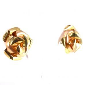 Orecchini fiori al lobo oro bicolore con clips - senza paletto -2,5 cm; 11,35 gr