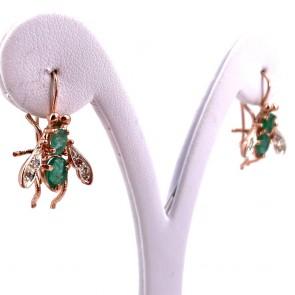 Orecchini pendenti api in stile, argento, oro e smeraldi; 4.74 gr - 2.8 cm