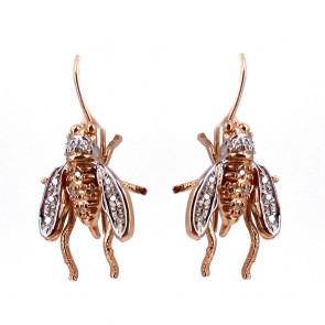 Orecchini pendenti api in stile, argento,