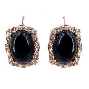 Orecchini pendenti in stile, argento, oro, onice e mini diamantini