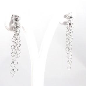 Orecchini pendenti spirali e nappe oro e diamanti - 0,45 ct - 5,70 gr; 4,9 cm