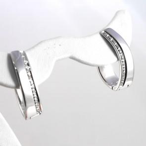 Orecchini pendenti/anelle oro e diamanti - 0,19 ct- 11,5 gr; 2,5 cm
