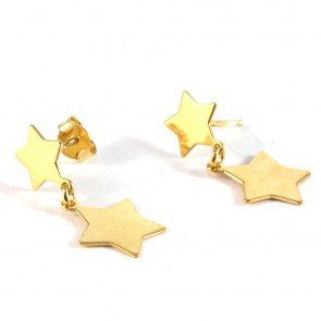 Orecchini doppie stelle argento dorato - 2 cm; 1,8 gr