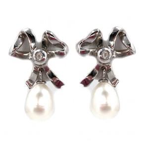 Orecchini pendenti, con fiocchi in stile, argento, oro, perle e diamanti