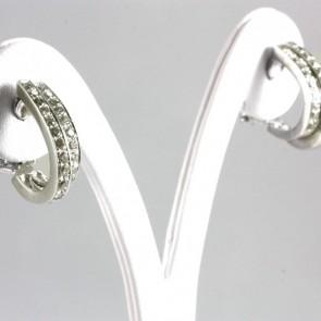 Orecchini pendenti mezzelune doppie oro e diamanti champagne - 1,10-1,20 ct- 10,7 gr; 1,8 cm