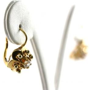 Orecchini toppe fiori in stile, oro e zirconi; 1,9 cm