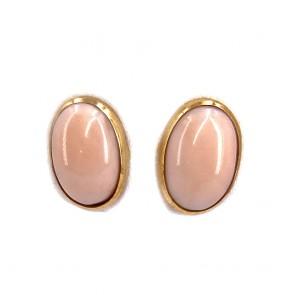 Orecchini al lobo oro, bottone ovale corallo rosa