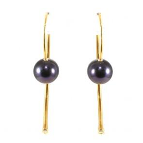 Orecchini argento, perle nere-viola e zirconi - 5 cm; 5.2 gr
