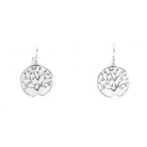 Orecchini albero della vita argento e zirconi - 3 cm, 3,7 gr