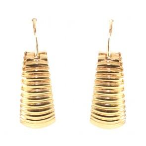 Orecchini cerchi ad anelle scanalate oro - 4.92 gr; 2.7 cm