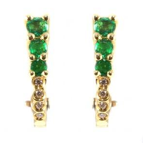 Orecchini mezzelune oro smeraldi