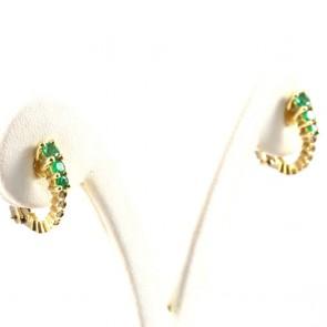 Orecchini mezzelune oro smeraldi -0.55 ct- e diamanti - 0.08 ct- 5.1 gr; 1.8 cm