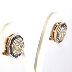 Orecchini toppe ottagonali, in stile, oro, diamanti -0.60-0.70 ct- e zaffiri- 1.5-1.6 ct; 12 gr