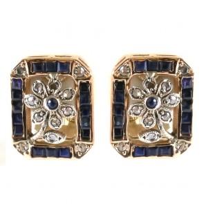 Orecchini toppe rettangolari, in stile, oro, diamanti