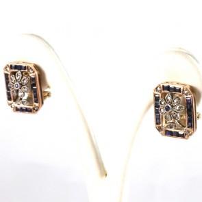 Orecchini toppe rettangolari, in stile, oro, diamanti -0.20 ct- e zaffiri- 1.2-1.3 ct; 12 gr