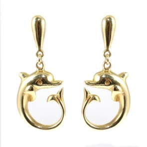 Orecchini pendenti delfini oro