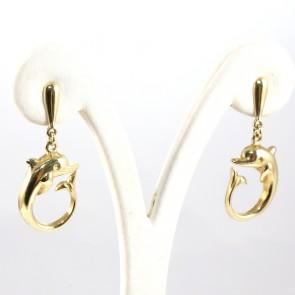 Orecchini pendenti delfini oro - 6.7 gr; 3.7 cm