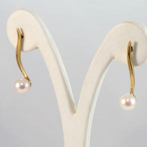 Orecchini pendenti lunghi oro, perle - 7.5 mm- 3.2 cm; 4 gr