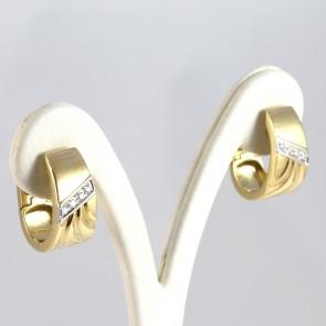 Orecchini pendenti corti anelle, oro e diamanti - 0.25-0.30 ct; 13.45 gr