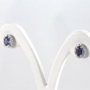 Orecchini a margherita ovale oro, zaffiri - 1.98 ct- e diamanti -0.36 ct; 3.6 gr
