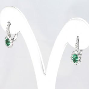 Orecchini margherite pendenti corti oro, smeraldo -0.80 ct- e diamanti -0.48 ct- 1.9 cm; 3.2 gr