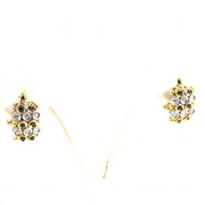 Orecchini al lobo rettangolari, oro, zaffiri - 0.25-0.30 ct- e diamanti - 0.25-0.30 ct; 8.2 gr