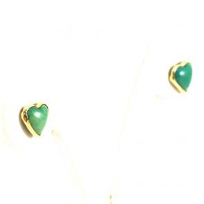 Orecchini cuori al lobo oro, turchese -0.8 cm; 1.6 gr