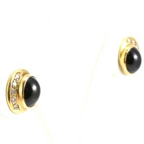 Orecchini al lobo ovali, oro, diamanti - 0.22-0.28 ct- e onice; 3.9 gr