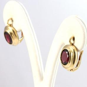 Orecchini pendenti in stile ovali oro e granati - 1.9 cm; 5.8 gr.