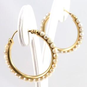 Orecchini anelle oro e perle- 2.7 cm; 4.3 gr