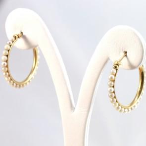 Orecchini anelle oro e perle-