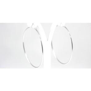 Orecchini ad anelle argento bianco - diametro 7,5 cm; 7,3 gr