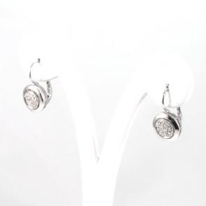 Orecchini pendenti corti toppe oro e diamanti - 0.20-0.25 ct- 5.1 gr
