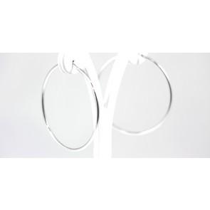 Orecchini ad anelle argento bianco - diametro 5,5 cm; 5 gr