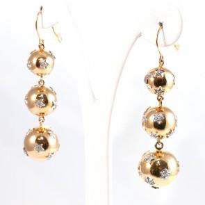 Orecchini pendenti, boulle oro e diamanti - 0.56  ct; 11.4 gr; 6 cm