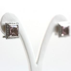Orecchini al lodo quadri, oro, morganite e diamanti -0.42 ct; 11.6 gr