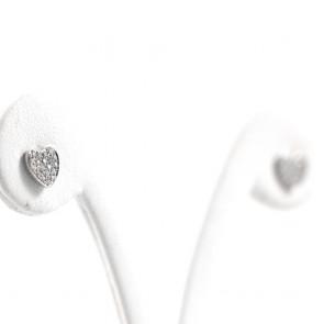 Orecchini  cuore al lobo oro e diamanti - 0.18-0.20 ct; 1.8 gr