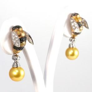 Orecchini api al lobo, oro, diamanti - 1.49 ct - e perle gold; 7.3 gr
