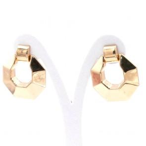 Orecchini geometrici maxi argento dorato - 3.7 cm; 8.9 gr