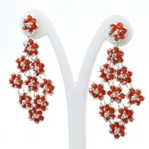 Orecchini maxi pendenti argento e microbulle di corallo rosso -24 gr; 7.3 cm