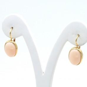 Orecchini in stile oro e ovali di corallo rosa - 6 gr; 2.5 cm