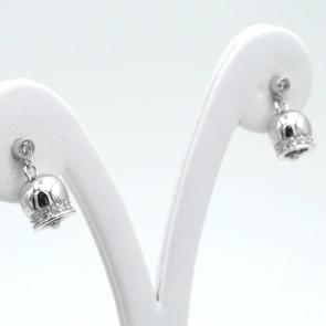 Orecchini campanella in argento bianco - 1.7 cm; 4 gr