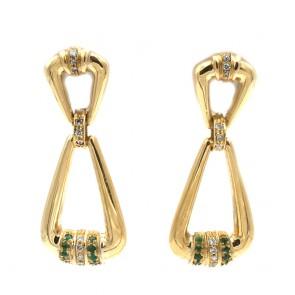 Orecchini pendenti oro, smeraldi