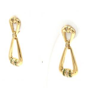 Orecchini pendenti oro, smeraldi -0.10-0.15 ct- e diamanti -0.25-0.30 ct - 13.77 gr; 5 cm