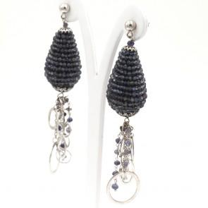 Orecchini maxi pendenti argento, more iolite e nappe -30.45 gr; 10 cm
