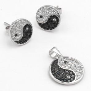 Parure -ciondolo e orecchini- Tao  argento e zirconi