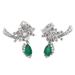 Orecchini regali oro, smeraldo