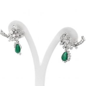 Orecchini regali oro, smeraldo -2.90 ct- e diamanti -4.21 ct- 3.4 cm; 11.93 gr