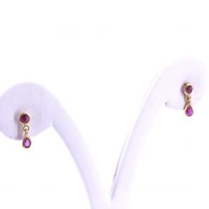Orecchini mini pendenti oro e rubini -0.18-0.20 ct; 0.98 gr