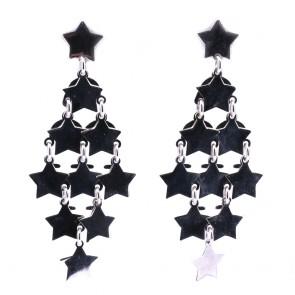 Orecchini pendenti stelle maxi argento